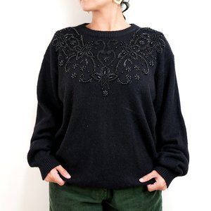 80s Vintage Black Beaded Pullover Knit Sweater XL